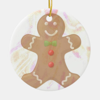 Ornamento del hombre de pan de jengibre adorno navideño redondo de cerámica
