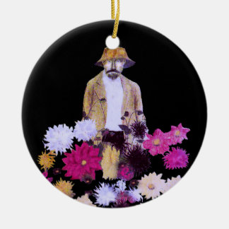 Ornamento del jardinero de la dalia adorno redondo de cerámica