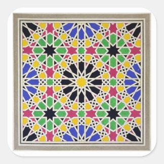Ornamento del mosaico en el lado sur de la corte pegatina cuadrada