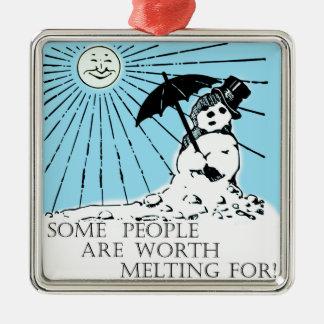 Ornamento del muñeco de nieve adorno navideño cuadrado de metal