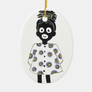 Ornamento del navidad adorno navideño ovalado de cerámica