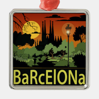 Ornamento del navidad de Barcelona Adorno Navideño Cuadrado De Metal