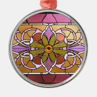 Ornamento del navidad de la flor del vitral adorno navideño redondo de metal