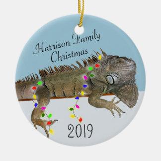 Ornamento del navidad de la foto de familia de la adorno navideño redondo de cerámica