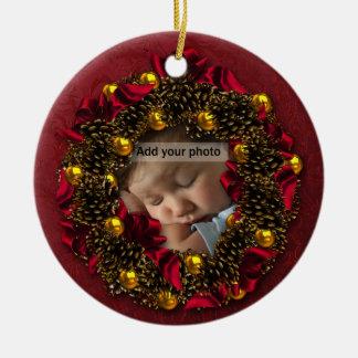 Ornamento del navidad de la foto de la guirnalda d ornato