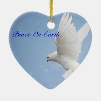 Ornamento del navidad de la paloma adorno navideño de cerámica en forma de corazón