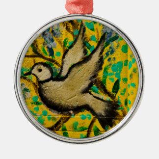 Ornamento del navidad de la paloma de la paz de adorno redondo plateado