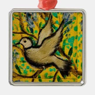 Ornamento del navidad de la paloma de la paz de adorno navideño cuadrado de metal