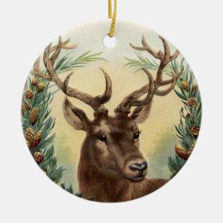 Ornamento del navidad de los ciervos del vintage adorno navideño redondo de cerámica