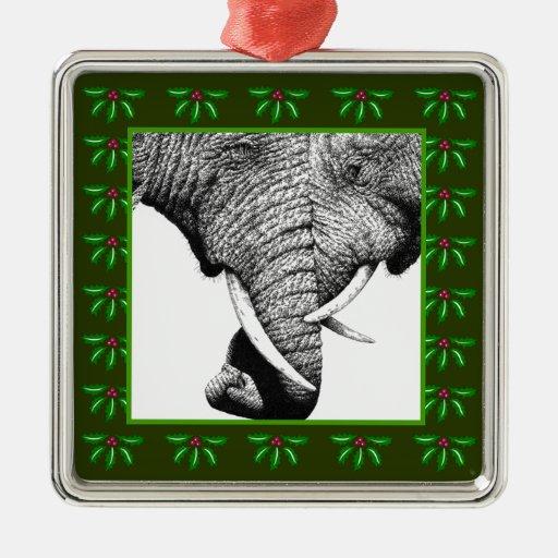 Ornamento del navidad de los elefantes africanos ornamento para arbol de navidad