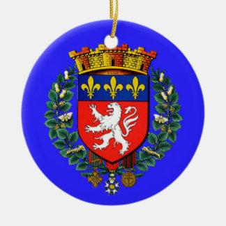 Ornamento del navidad de Lyons* Francia Adorno Redondo De Cerámica