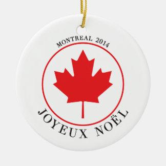 Ornamento del navidad de Montreal 2014 (Joyeux Adorno Navideño Redondo De Cerámica