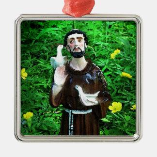 Ornamento del navidad de St Francis Adorno Cuadrado Plateado