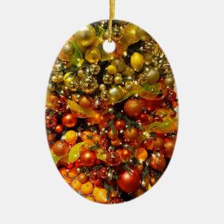 Ornamento del navidad del árbol de fruta cítrica adorno navideño ovalado de cerámica