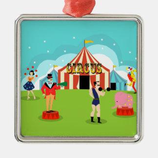 Ornamento del navidad del circo del vintage adorno navideño cuadrado de metal