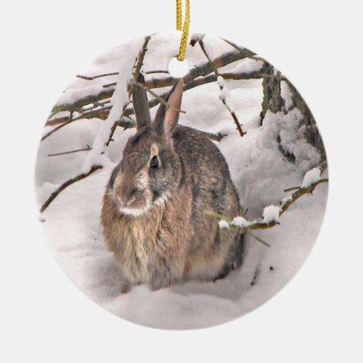 Ornamento del navidad del conejito de la nieve ornamentos de navidad