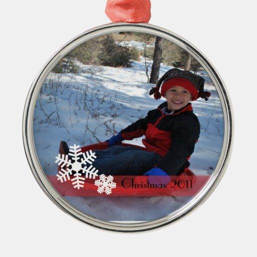 Ornamento del navidad del copo de nieve adorno navideño redondo de metal