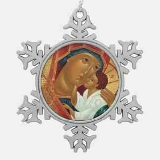 Ornamento del navidad del copo de nieve con el adorno de peltre en forma de copo de nieve