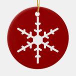 Ornamento del navidad del copo de nieve en rojo ornatos