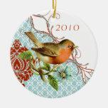 Ornamento del navidad del damasco del pájaro del v adorno para reyes