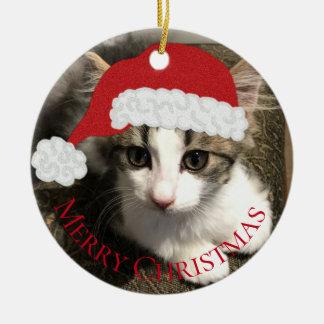 Ornamento del navidad del gatito de Santa