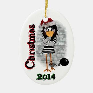 Ornamento del navidad del Jailbird Adorno Navideño Ovalado De Cerámica