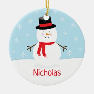 Ornamento del navidad del muñeco de nieve del día