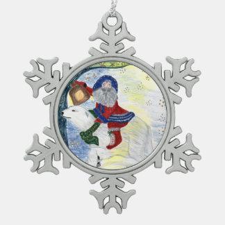 Ornamento del navidad del padre adorno de peltre en forma de copo de nieve