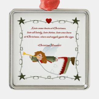 Ornamento del navidad del poema del ángel adorno navideño cuadrado de metal