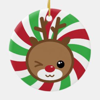 Ornamento del navidad del reno de Kawaii Adorno Navideño Redondo De Cerámica