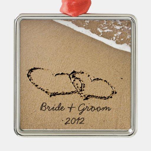 Ornamento del navidad del tema de la playa primer adorno cuadrado plateado