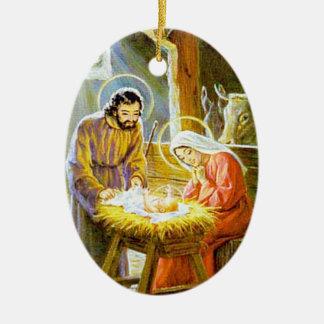 Ornamento del navidad del vintage de la natividad adorno navideño ovalado de cerámica