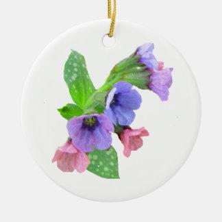 Ornamento del navidad del Wildflower Adorno Redondo De Cerámica