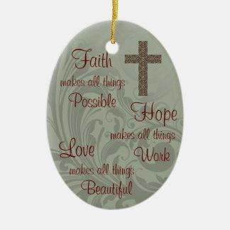 Ornamento del óvalo de la esperanza y del amor de adorno navideño ovalado de cerámica