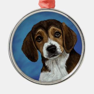 Ornamento del perrito del beagle adorno navideño redondo de metal
