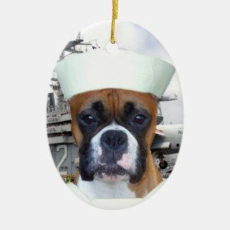 Ornamento del perro del boxeador del marinero de adorno ovalado de cerámica