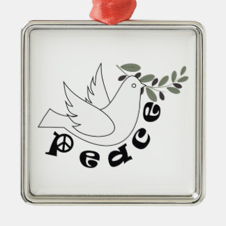 Ornamento del personalizado de la paz adorno navideño cuadrado de metal