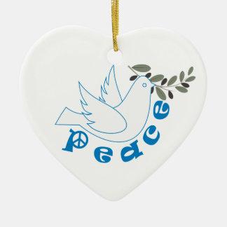 Ornamento del personalizado de la paz adorno navideño de cerámica en forma de corazón