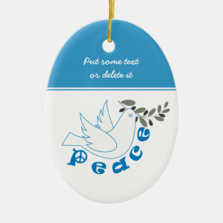 Ornamento del personalizado de la paz adorno navideño ovalado de cerámica