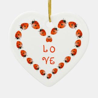 Ornamento del personalizado del amor adorno navideño de cerámica en forma de corazón