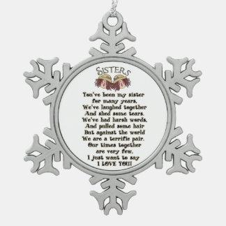 Ornamento del poema del día de fiesta del navidad adorno de peltre en forma de copo de nieve