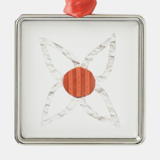 Ornamento del premio de la cadena de margaritas adorno navideño cuadrado de metal