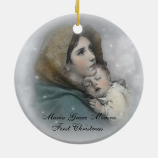 """""""Ornamento del primer navidad del bebé"""" religioso Adorno Navideño Redondo De Cerámica"""