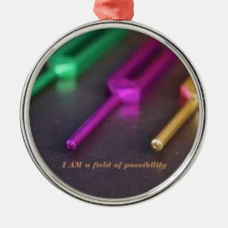Ornamento del solfeo adorno navideño redondo de metal