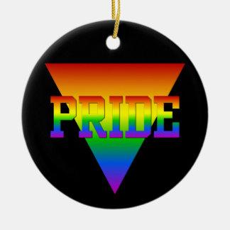 Ornamento del triángulo del orgullo, personalizar adorno redondo de cerámica
