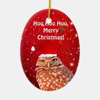 Ornamento divertido del navidad del búho con año