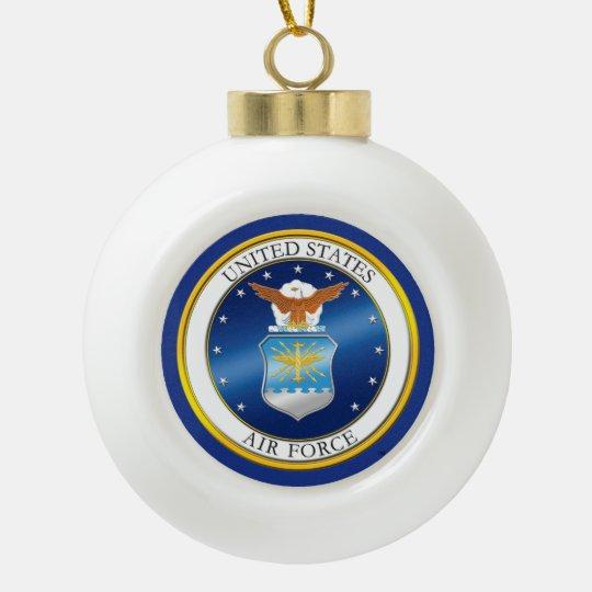 Ornamento enmarcado copo de nieve del U.S.A.F. Adorno De Cerámica En Forma De Bola