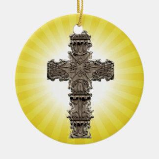 Ornamento espiritual cruzado religioso soleado ornamentos de reyes