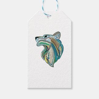 Ornamento étnico principal del lobo etiquetas para regalos