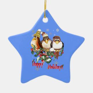 Ornamento feliz de la estrella de los pájaros del adorno navideño de cerámica en forma de estrella